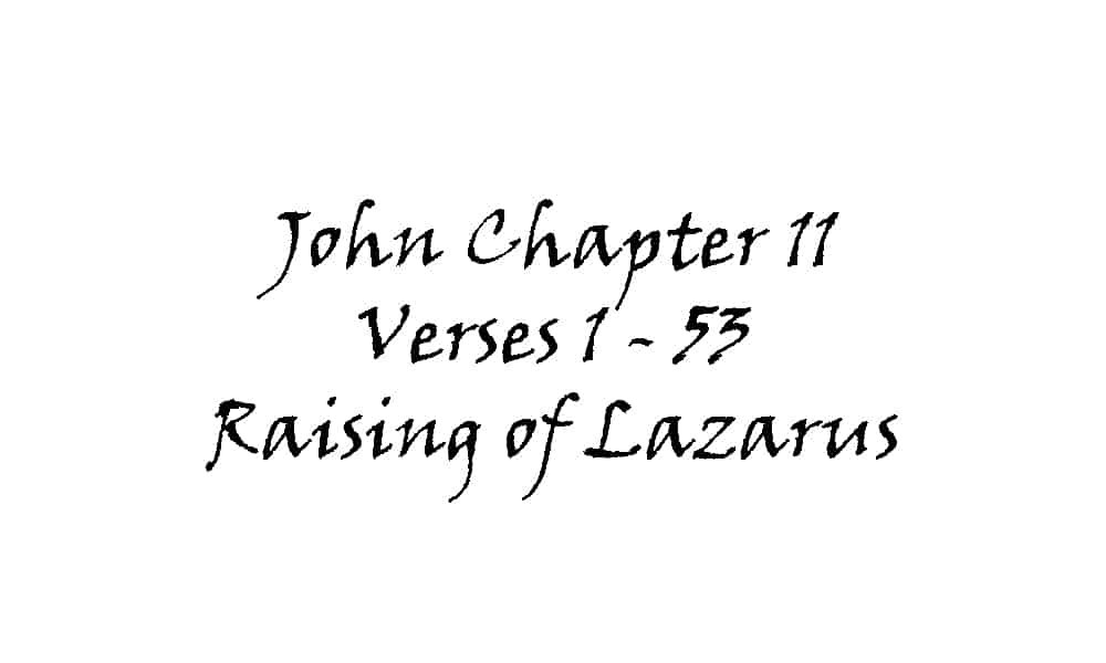 Reading - John 11 v 1-53 Raising of Lazarus
