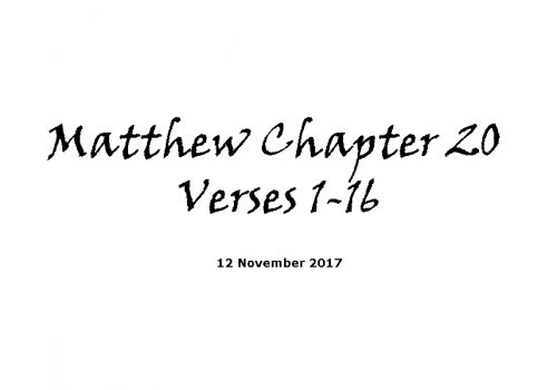 Reading - 12-11-17 Matthew Chapter 20 Verses 1-16
