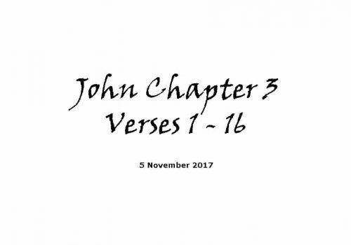 Reading - John 3 V 1-16