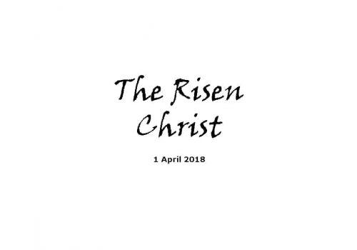 Sermon 1-4-18 - The Risen Christ