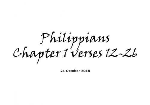 Reading - Philippians Ch1 V12-26
