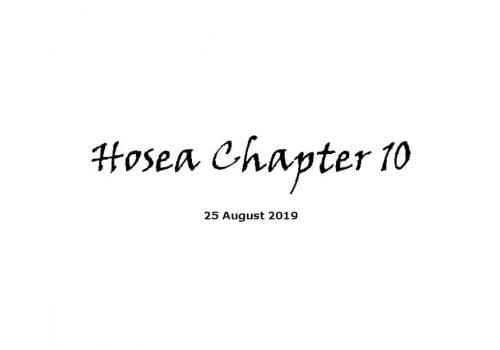 Reading - Hosea Chapter 10