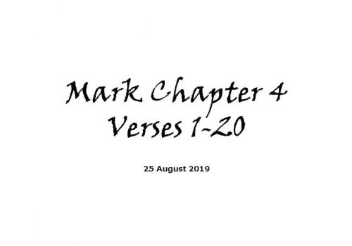 Reading - Mark Chapter 4 Verses 1 - 20