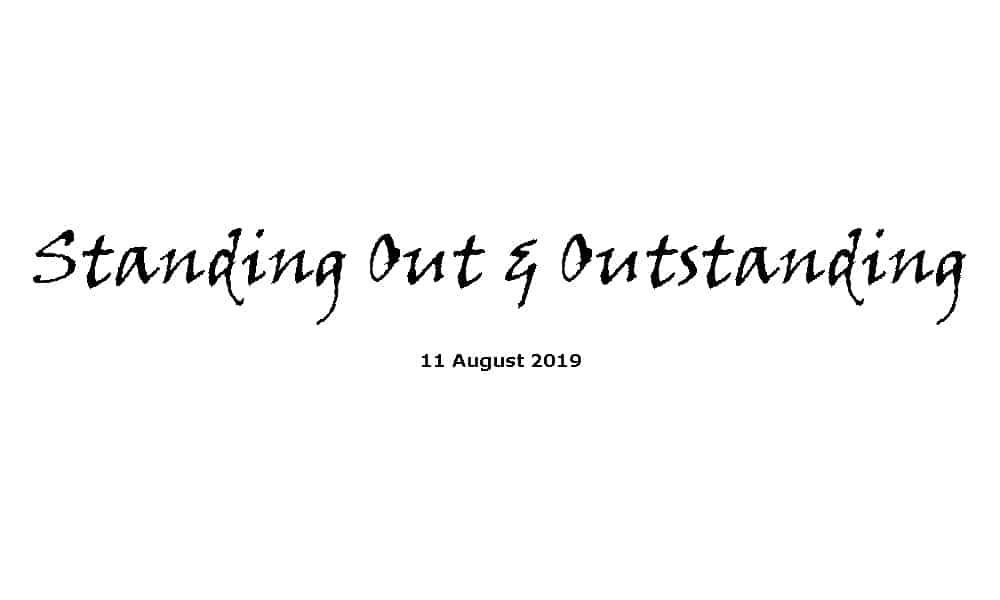 Sermon - 11-8-19 Standing Out and Outstanding