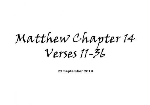 Reading - 22-9-19 - Matthew Chapter 14 Verses 22-36