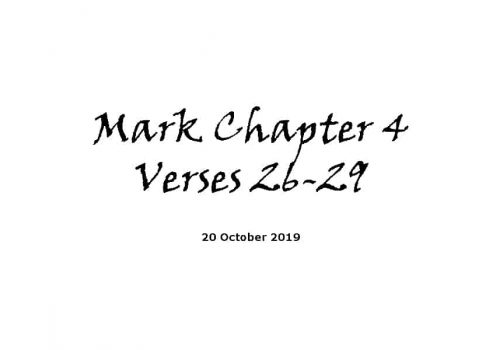 Reading - 20-10-19 Mark Chapter 4 Verses 26-29