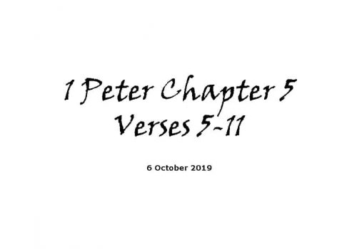 Reading -5-10-19 1 Peter Ch5 V5-11