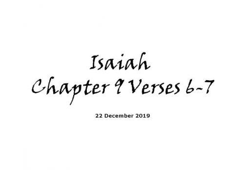 Reading - 22-12-19 - Isaiah Chapter 9 Verses 6-7