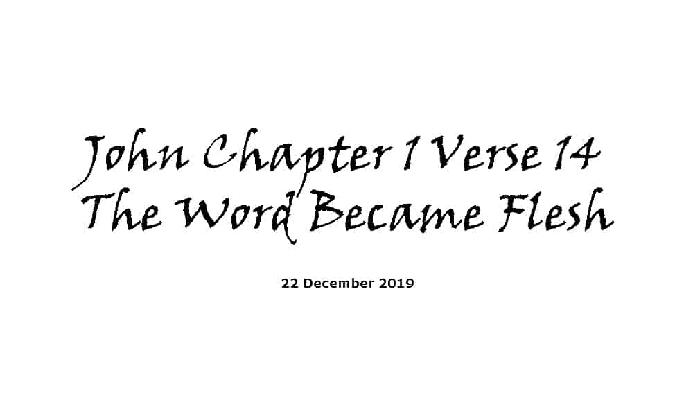 Reading - 22-12-19 John Chapter 1 Verse 14 - The Word Became Flesh