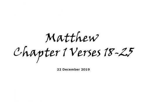 Reading - 22-12-19 -Matthew Chapter 1 Verses 18-25