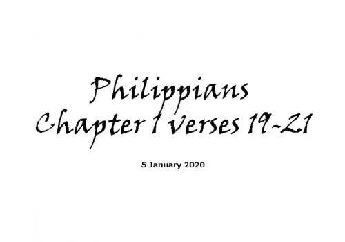 Reading - 5-1-29 - Philippians Chapter 1 Verses 19-21