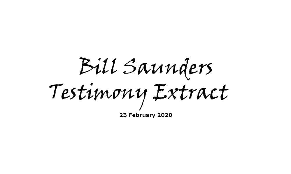 Bill Saunders Testimony Extract