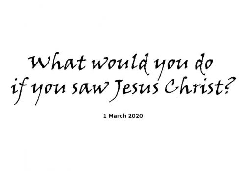 Sermon - 1-3-20 - What Would You Do If You Saw Jesus Christ ?