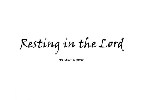 Resting In The Lord