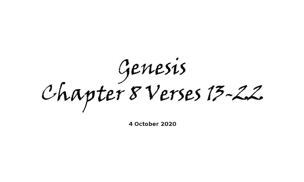 Reading - Genesis Chapter 8 verses 13-22