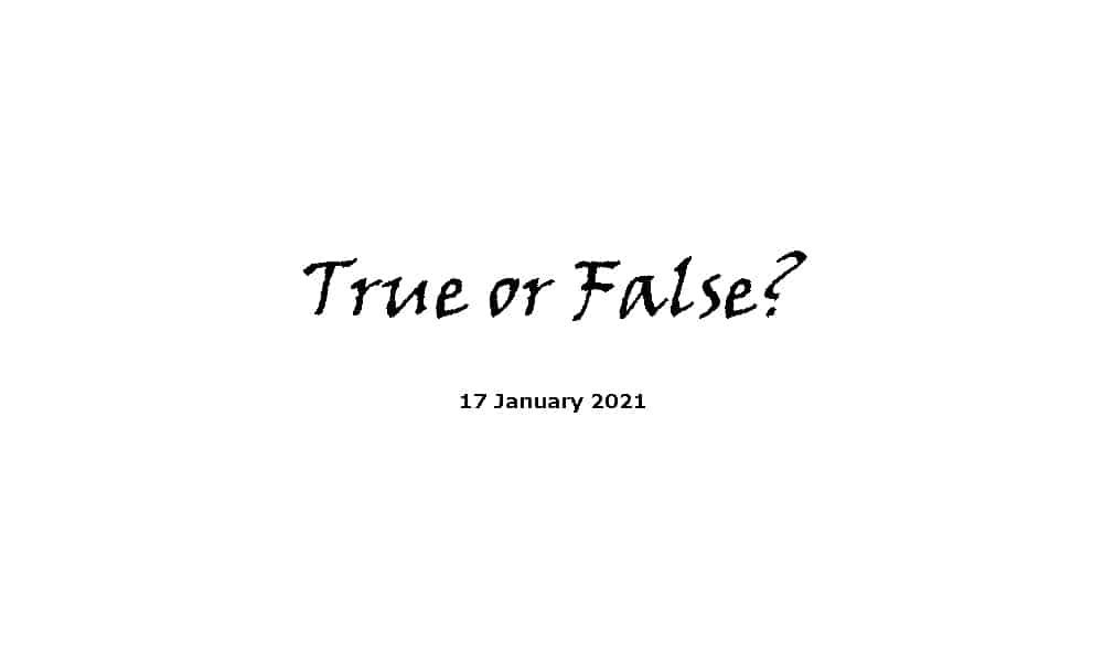 True or False - 17-1-2