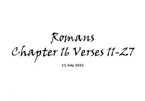 Romans Chapter 16 Verses 11-27