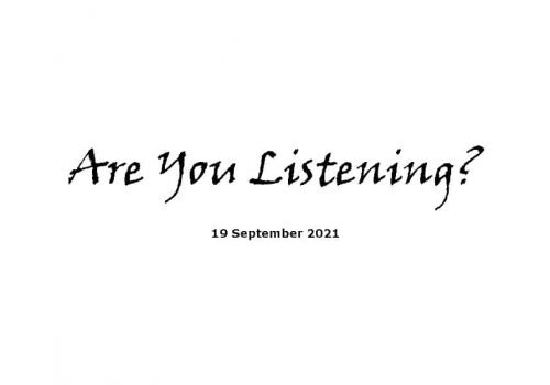 Are You Listening - 19-9-21